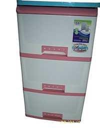 Storage Drawer Cabinet (3 Layers Pink-White)