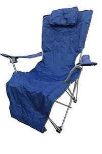 Folding Portable Lounge Chair With Foot Rest And Carry Bag