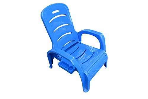 Folding Beach Lounger Chair - Plastic - Blue