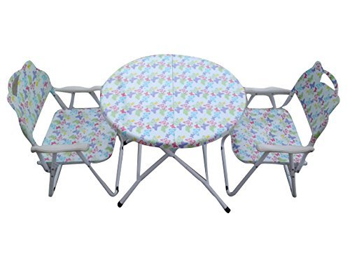 Folding Kids Table-Chair Set-MultiColor Butterfly