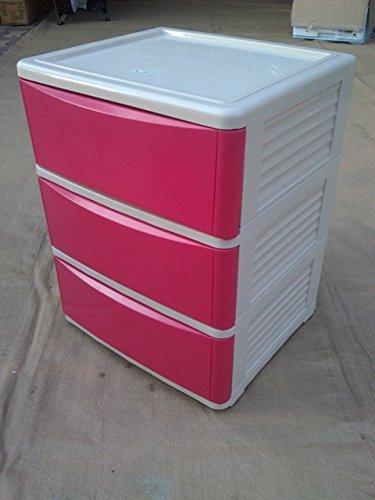 Plastic Drawer Cabinet (3 Layers Red)