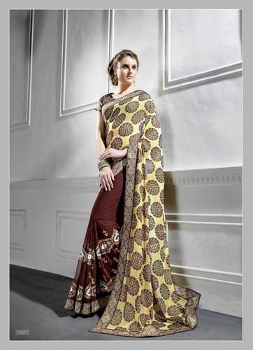 Fancy Designer Stylish Latest Georgette Embiordery Work Saree