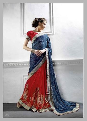 Fancy Designer Stylish Latest Georgette Embiordery Work Saree