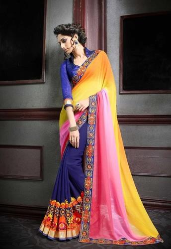 Designer Party Wear Multi Color Georgette Saree