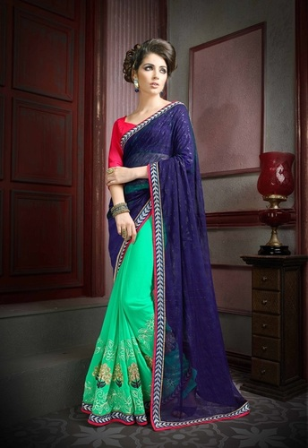 Designer Party Wear Multi Color Georgette Saree