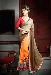 Designer Fancy Latest Party Wear Multi color Georgette Saree