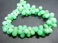 Green Chrysoprase Faceted Drops