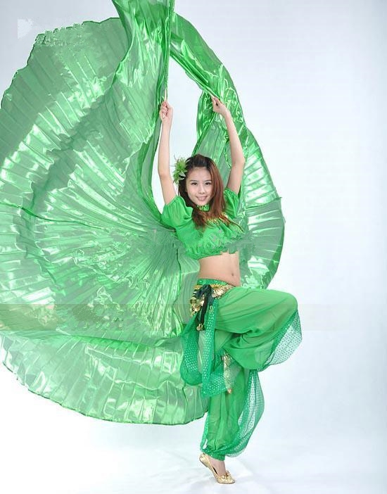 Green Belly Dance ISIS Wings with Top Skirt
