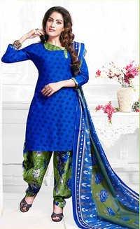 Blue Cotton Printed Punjabi Salwar Suit
