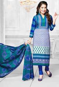 Green Blue Cotton Printed Evening Wear Salwar Suit