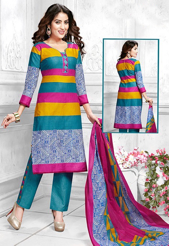 Multicolor Cotton Printed Vintage Salwar Suit