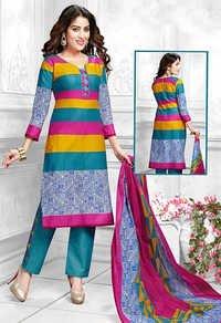 Multicolor Cotton Printed Vintage Salwar Suit