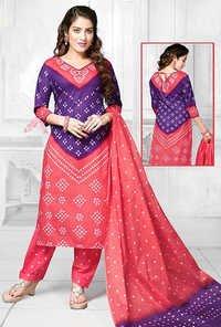 Blue Orange Bandhani Cotton Printed Bollywood Salwar Suit