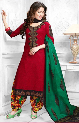 Red Green Cotton Printed Kareena Salwar Suit
