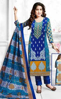 Blue Cotton Printed Party Wear Salwar Suit