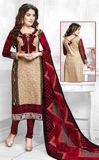 Red Beige Cotton Printed Bridal Wear Salwar Suit