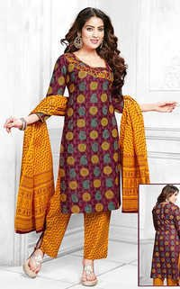Yellow Cotton Printed Vintage Salwar Suit