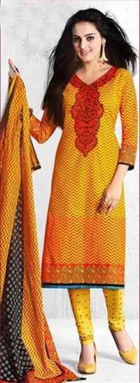 Yellow Cotton Printed Light Weight Salwar Suit