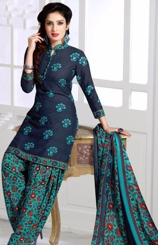 Blue Synthetic Printed Ethnic Salwar Suit