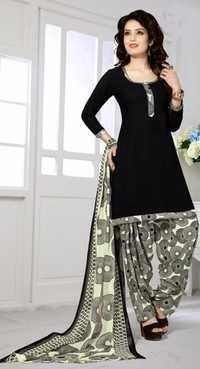 Black Synthetic Printed TraditioThenal Salwar Suit