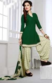 Green Synthetic Printed Vintage Salwar Suit