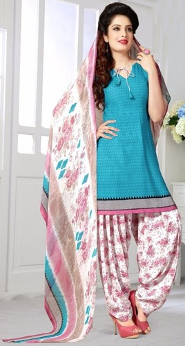 Blue Pink Synthetic Printed Light Weight Salwar Suit