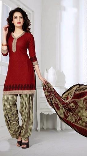 Red Synthetic Printed Kareena Salwar Suit