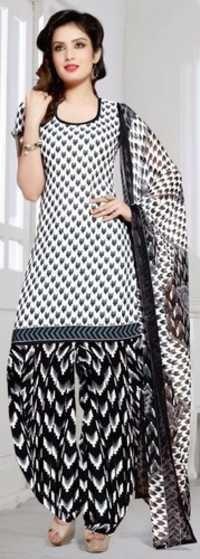 Beige Black Synthetic Printed Bollywood Elgant Salwar Suit