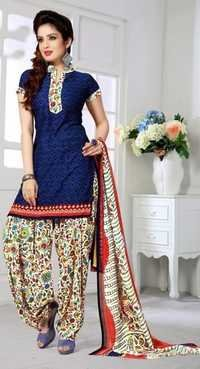 Red Blue Synthetic Printed Party Wear Salwar Suit