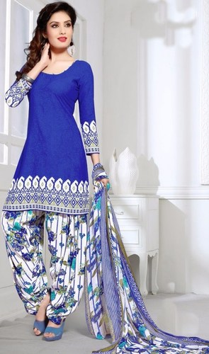 Blue Synthetic Printed Daily Wear Salwar Suit