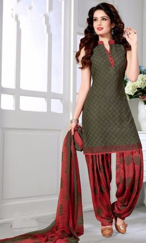 Red Green Synthetic Printed Salwar Suit