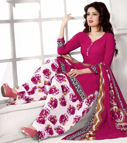 Pink Synthetic Printed Traditional Salwar Suit