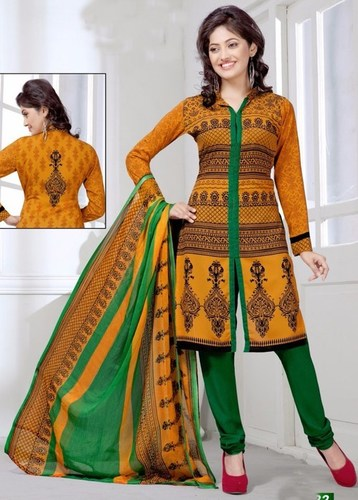 Yellow Green Synthetic Printed Salwar Suit