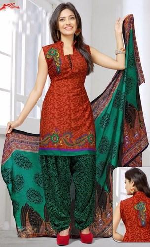 Green Orange Synthetic Printed Evening Wear Salwar Suit