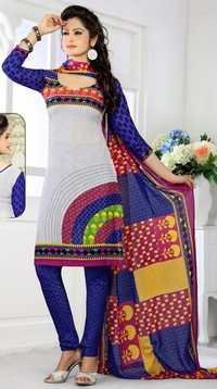 Multicolor Synthetic Printed  Salwar Suit