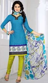 Blue Yellow Synthetic Printed Bollywood Salwar Suit