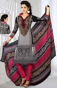 Black Pink Synthetic Printed Party Wear Salwar Suit