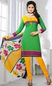Green Yellow Synthetic Printed Evening Wear Salwar Suit