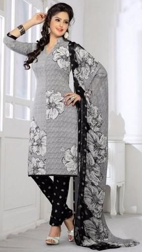 Grey Black Synthetic Printed Office Wear Salwar Suit