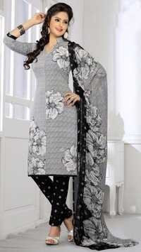 Grey Black Synthetic Printed Office Wear Salwar Suit