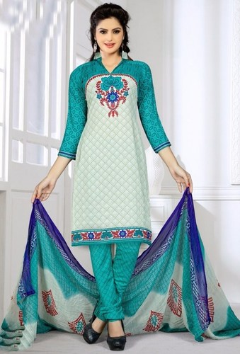 White Green Synthetic Printed Party Wear Salwar Suit