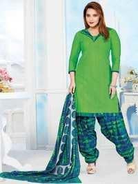 Green Cotton Printed Bollywood Salwar Suit