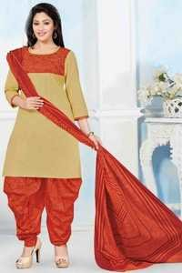 Orange Beige Cotton Printed Ethnic Salwar Suit