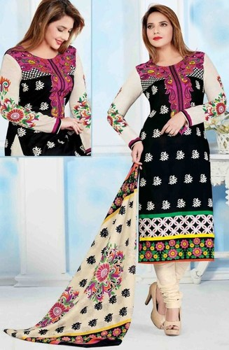 Black Cotton Printed Traditional Salwar Suit