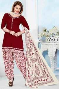 Maroon Cotton Printed Vintage Salwar Suit