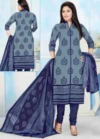 Grey Blue Cotton Printed Salwar Suit