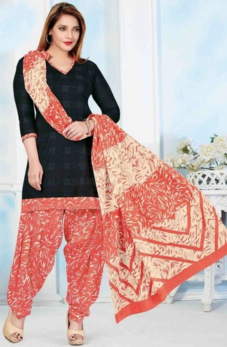 Black Cotton Printed Kareena Salwar Suit