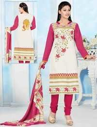 White Pink Cotton Printed Salwar Suit