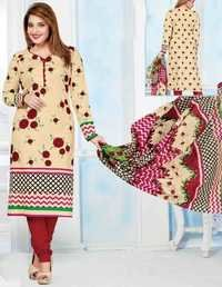 Beige Maroon Cotton Printed Bollywood Salwar Suit