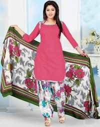 Pink Green Cotton Printed Party Wear Salwar Suit